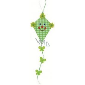 Dráček z látky na zavěšení zelený 14 cm + ocásek 21 cm