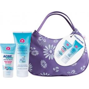 Dermacol Acneclear Hydratační gel-krém 50 ml + Jemný čisticí gel s olejem z australského čajovníku 100 ml + Taštička, kosmetická sada
