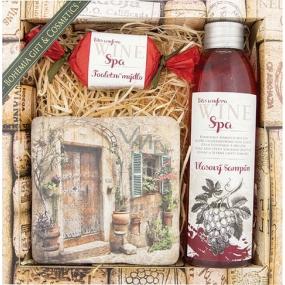 Bohemia Vinná kosmetika Wine Spa Hroznový olej a extrakt z vinné révy šampon na vlasy 200 ml + ručně vyráběné mýdlo 30 g + dekorační kachlík s potiskem 10 x 10 cm, kosmetická sada