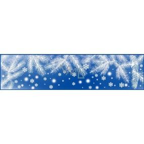 Room Decor Okenní fólie bez lepidla pruh zamrzlý s duhovými glitry větvičky 64 x 15 cm