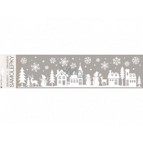 Samolepka dekorační bílá s glitry městečko 15 x 64 cm