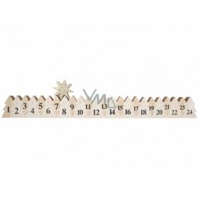Adventní kalendář dřevěný bílý se zlatou hvězdou 78 x 395 mm