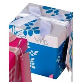 Anděl Dárková krabička skládací s mašlí modrá s bílou mašlí 10 x 10 x 10 cm 1 kus