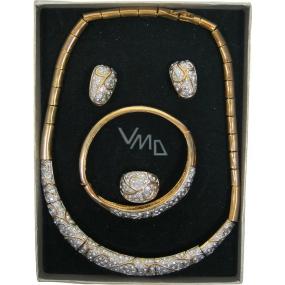 Bižuterie Souprava zlatá se stříbrnými kameny v dárkové krabičce