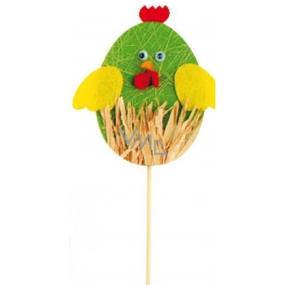 Kuřátko z filcu zelené zápich 10 cm + špejle