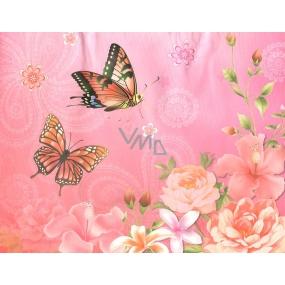 Nekupto Dárková kraftová taška střední 23 x 18 x 10 cm růžová motýlci, květy, 323 CM