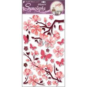 Room Decor Samolepky na zeď s glitrem růžová větev 60 x 32 cm