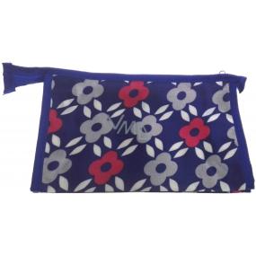 Etue Hranatá modrá s šedými a růžovými květy 21 x 14 x 6 cm 70190
