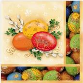 Aha Velikonoční papírové ubrousky žluté s vajíčky 3 vrstvé 33 x 33 cm 20 kusů