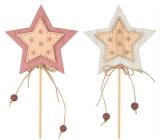 Hvězda dřevěná, vločky 7 cm + špejle 1 kus