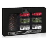 WoodWick Crimson Berries, Frasier Fir, White Teak svíčka petite 6 kusů dárkový set Deluxe