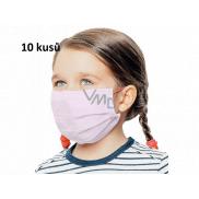 Rouška 3 vrstvá ochranná zdravotní netkaná jednorázová, nízký dýchací odpor pro děti 10 kusů růžová bez potisku