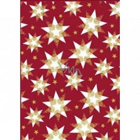 Ditipo Dárkový balicí papír 70 x 200 cm Vánoční vínový bílo-zlaté hvězdy