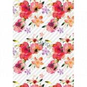 Ditipo Dárkový balicí papír 70 x 100 cm Bílý červené květy 2 archy