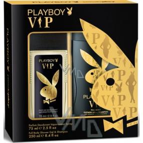Playboy Vip for Him parfémovaný deodorant sklo pro muže 75 ml + sprchový gel 250 ml, kosmetická sada