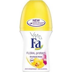 Fa Floral Protect Orchid & Viola kuličkový antiperspirant deodorant roll-on pro ženy 50 ml