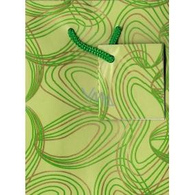 Nekupto Dárková papírová taška malá 14 x 11 x 6,5 cm Světle zelená s dekorem, 006 50 GS