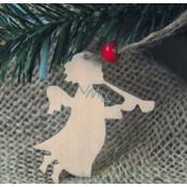 Předloha ze dřeva anděl s píšťalou 6 cm 4 kusy