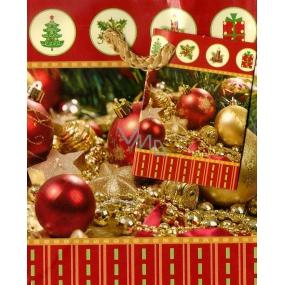 Nekupto Dárková papírová taška malá 718 01 WBS červeno zlaté baňky 14 x 11 x 6,5 cm