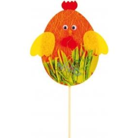 Kuřátko z filcu oranžové zápich 10 cm + špejle