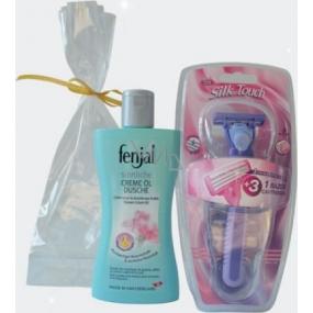 Fenjal Rose sprchový krém 200 ml + Rica Silk Touch holící strojek 1 kus + náhradní hlavice 3 kusy, kosmetická sada