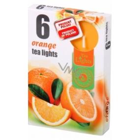 Tea Lights Orange s vůní pomeranče vonné čajové svíčky 6 kusů