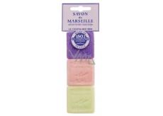 Le Chatelard Levandule, Růže, Verbena toaletní mýdlo 3 x 30 g kosmetická sada