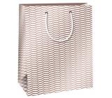 Ditipo Dárková papírová taška Trendy colours bílo-světle hnědá 18 x 10 x 22,7 cm QC