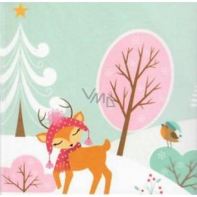 Nekupto Vánoční kartičky na dárky růžový strom 6,5 x 6,5 cm 6 kusů