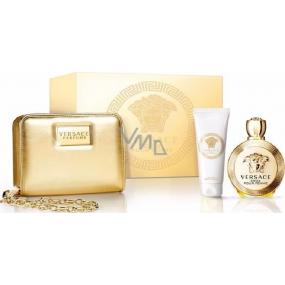 Versace Eros pour Femme parfémovaná voda pro ženy 100 ml + tělové mléko 100 ml + zlatá kabelka 1 kus, dárková sada