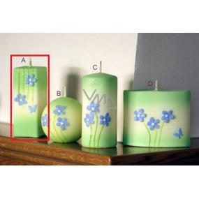 Lima Rozkvetlá louka svíčka světle zelená hranol 45 x 120 mm 1 kus