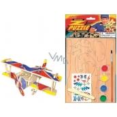Puzzle dřevěné dopravní prostředky Dvouplošník 20 x 15 cm