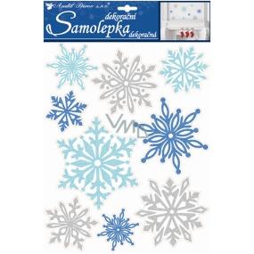 Room Decor Samolepky glitrové vločky modré a stříbrné 35 x 27,5 cm
