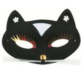 Škraboška plesová kočka černá 17 cm