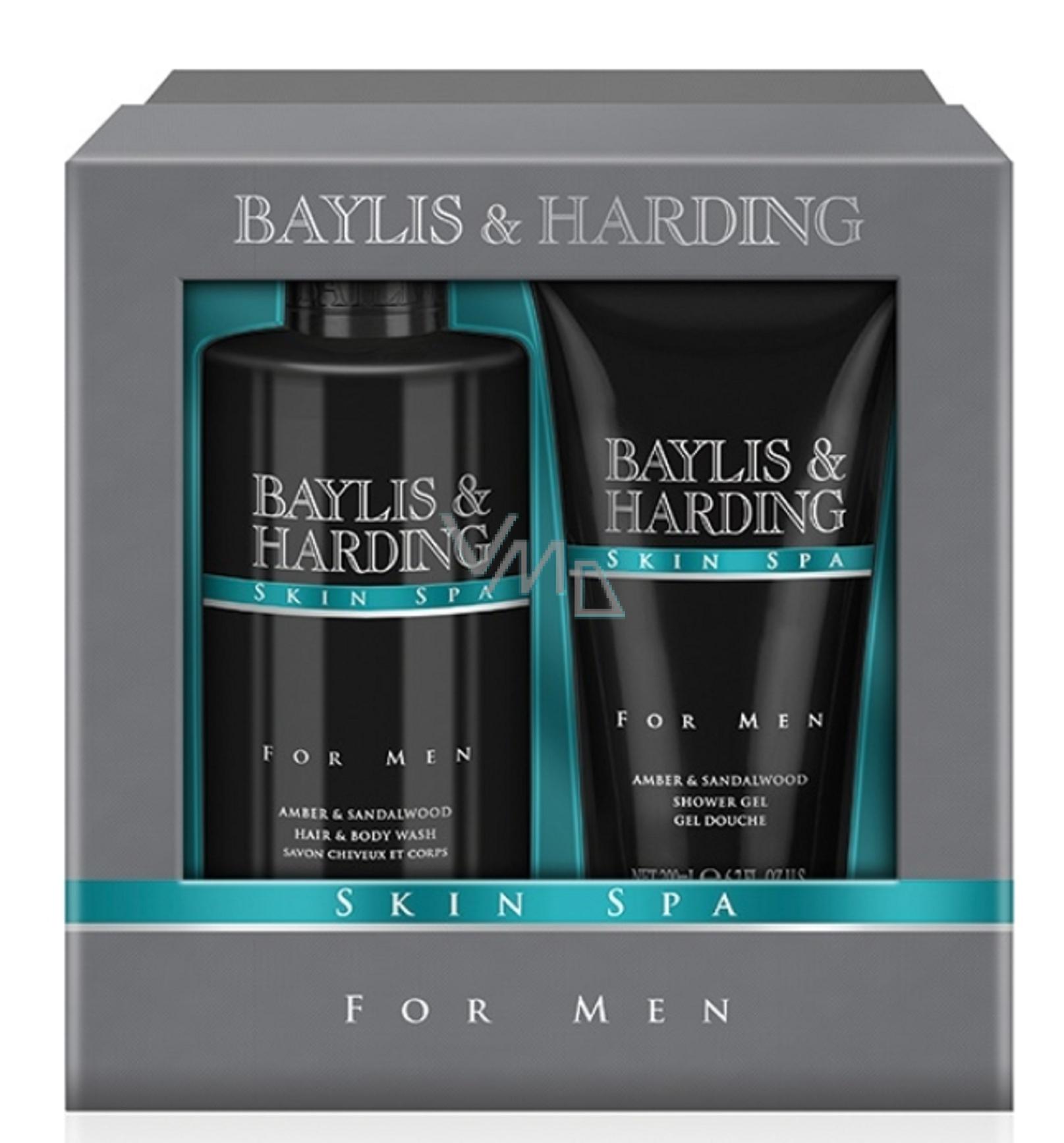 f01646322a Baylis   Harding Jantar a Santalové dřevo sprchový gel 200 ml + tekuté  mýdlo na tělo i vlasy 300 ml kosmetická sada pro muže