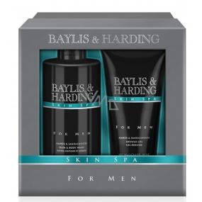 Baylis & Harding Men Jantar a Santalové dřevo sprchový gel 200 ml + tekuté mýdlo na tělo i vlasy 300 ml kosmetická sada pro muže