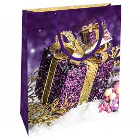 Nekupto Dárková papírová taška 23 x 18 x 10 cm Vánoční fialová dárek WBM 1937 40