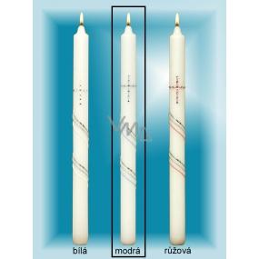 Lima Kostelní křestní svíčka se zirkony modrá č.4 36 cm 1 kus