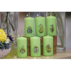 Lima Jarní motiv svíčka zelená válec 50 x 100 mm 1 kus