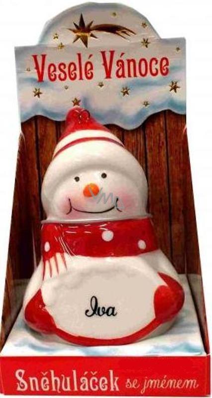 Nekupto Sněhuláček se jménem Iva Vánoční dekorace rozměr 8 cm
