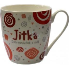 Nekupto Twister hrnek se jménem Jitka červený 0,4 litru