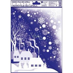 Okenní fólie bez lepidla Rohová s glitrem zimní krajina vesnička 42 x 30 cm