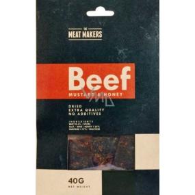 Meat Makers Beef Jerky Mustard & Honey tenké plátky hovězího masa konzervované sušením 40 g