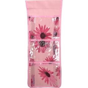 Kapsář do koupelny závěsný růžový 46 x 18,5 cm 3 kapsy 669