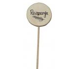 Bohemia Gifts & Cosmetics Dřevěný zápich k bylinkám s potiskem - Rozmarýn průměr kolečka je 5 - 8 cm