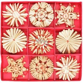 Slaměné ozdoby v krabičce cca 6 cm, 32 kusů