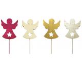 Anděl dřevěný červeno-zlato-béžovo-přírodní 8 cm + drátek 1 kus