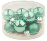 Baňky skleněné světle zelená sada 2 cm, 12 kusů