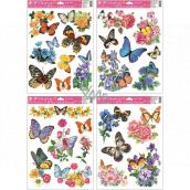 Okenní fólie motýli a květy 38 x 30 cm
