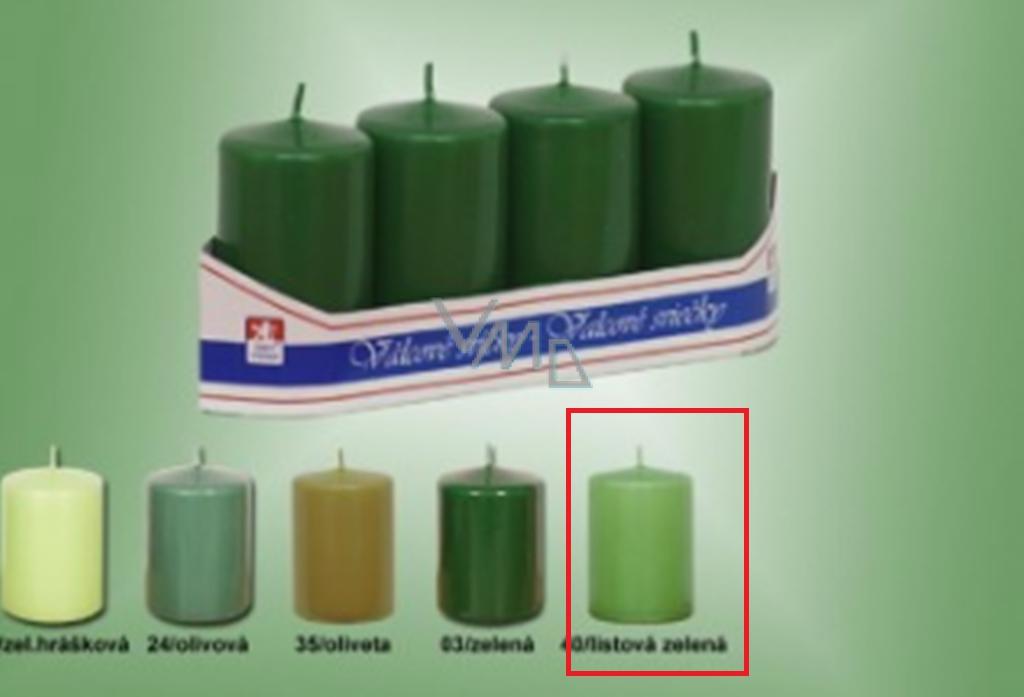 Lima Svíčka hladká válec listová zelená 40 x 70 mm 4 kusy